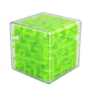 Green 3D Cube Maze Toy Puzzle Game Brain Teaser Labyrinth Rolling Ball -Puzzle Toys