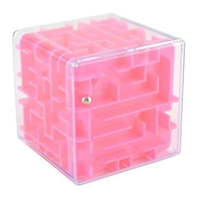 Image of Pink 3D Cube Maze Toy Puzzle Game Brain Teaser Labyrinth Rolling Ball -Puzzle Toys