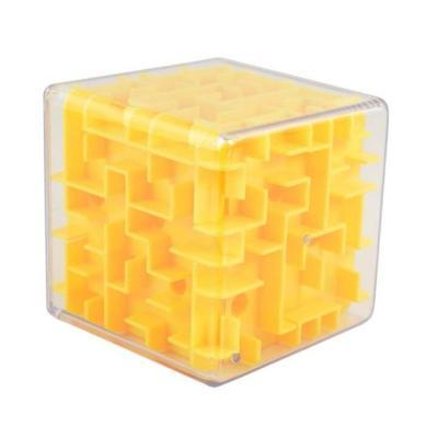 Yellow 3D Cube Maze Toy Puzzle Game Brain Teaser Labyrinth Rolling Ball -Puzzle Toys