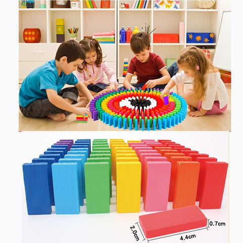 Image of Wooden Coloured Domino Building Kits-Puzzle Toys