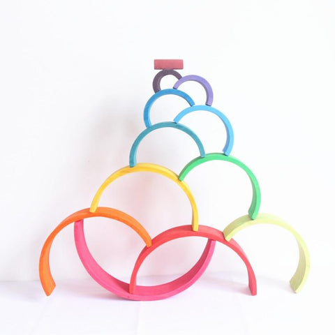 Image of Large 12 Piece Rainbow-Puzzle Toys