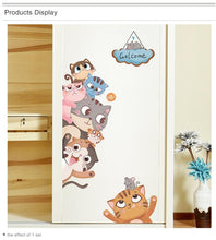 Cartoon Animals Wall Stickers Door Decoration