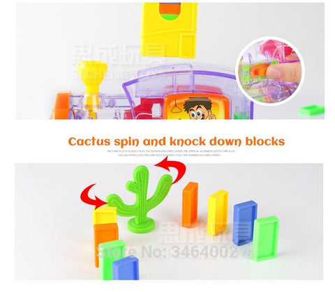 Automatic Domino Brick Laying Toy Train with Sound and Light-Puzzle Toys