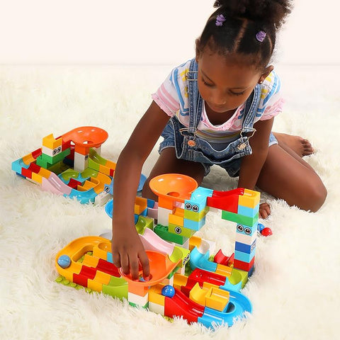 Image of Preschool playing with Marble Race Run Maze Balls Track Building Blocks-Puzzle Toys
