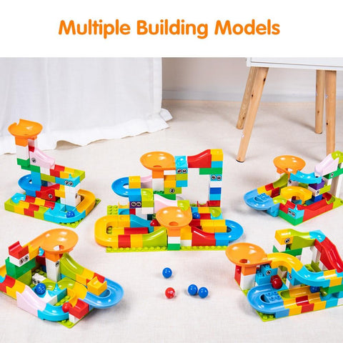 Image of 5 different construction of Marble Race Run Maze Balls Track Building Blocks-Puzzle Toys