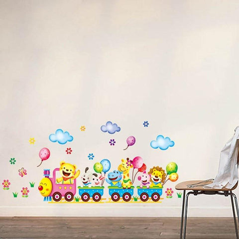 Image of Train Wall Sticker Home Decor Nursery-Puzzle Toys