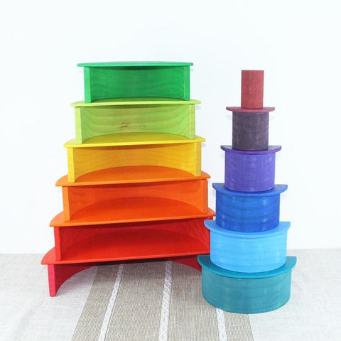 Large 11 Piece Semicircle Rainbow-Puzzle Toys