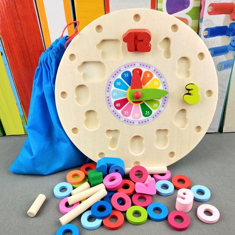 Image of Montessori Early Education Math Clock Wooden Toy-Puzzle Toys