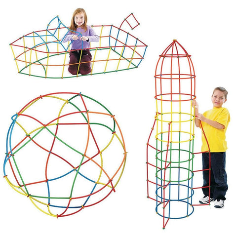 Image of Sculpture with Straw Building Blocks Educational Toys - Puzzle Toys