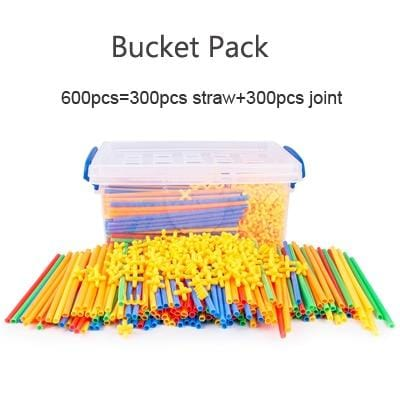 Image of Bucket pack of Straw Building Blocks Educational Toys - Puzzle Toys