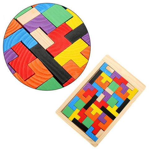 Image of 3D Wooden Puzzles Tetris Board-Puzzle Toys