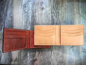 Leather Short Bifold Wallet Pattern Euro Bills