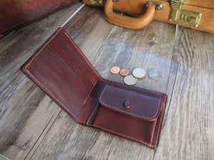 Leather Short Bifold Wallet Pattern US Bills