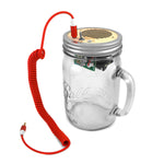 Mason Jar Speaker & Guitar Amp (Red Cord & Clear Handle Jar 24 oz)