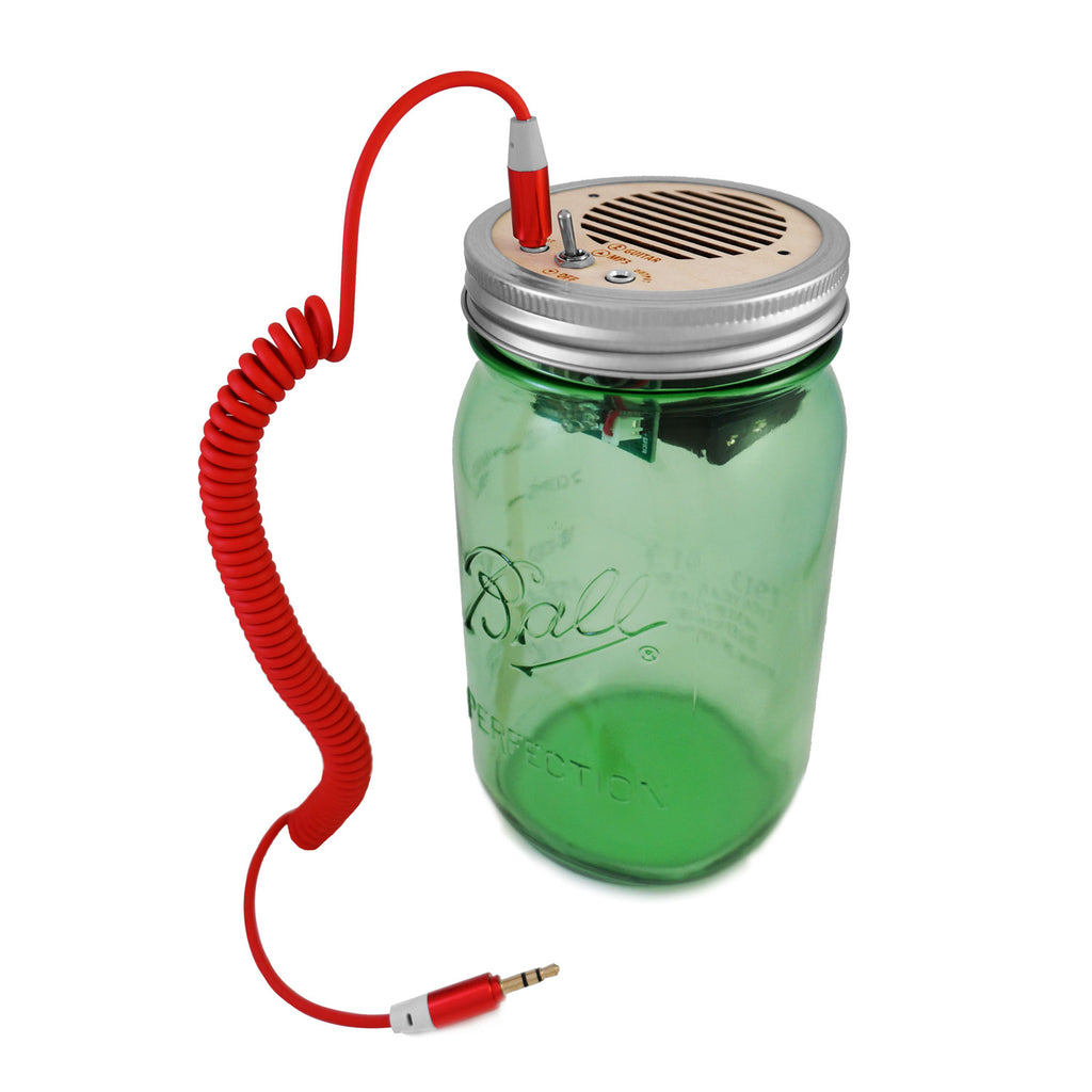 DIY Kit - Portable Speaker & Guitar Amplifier (Red Cord & Green Jar 32 oz)
