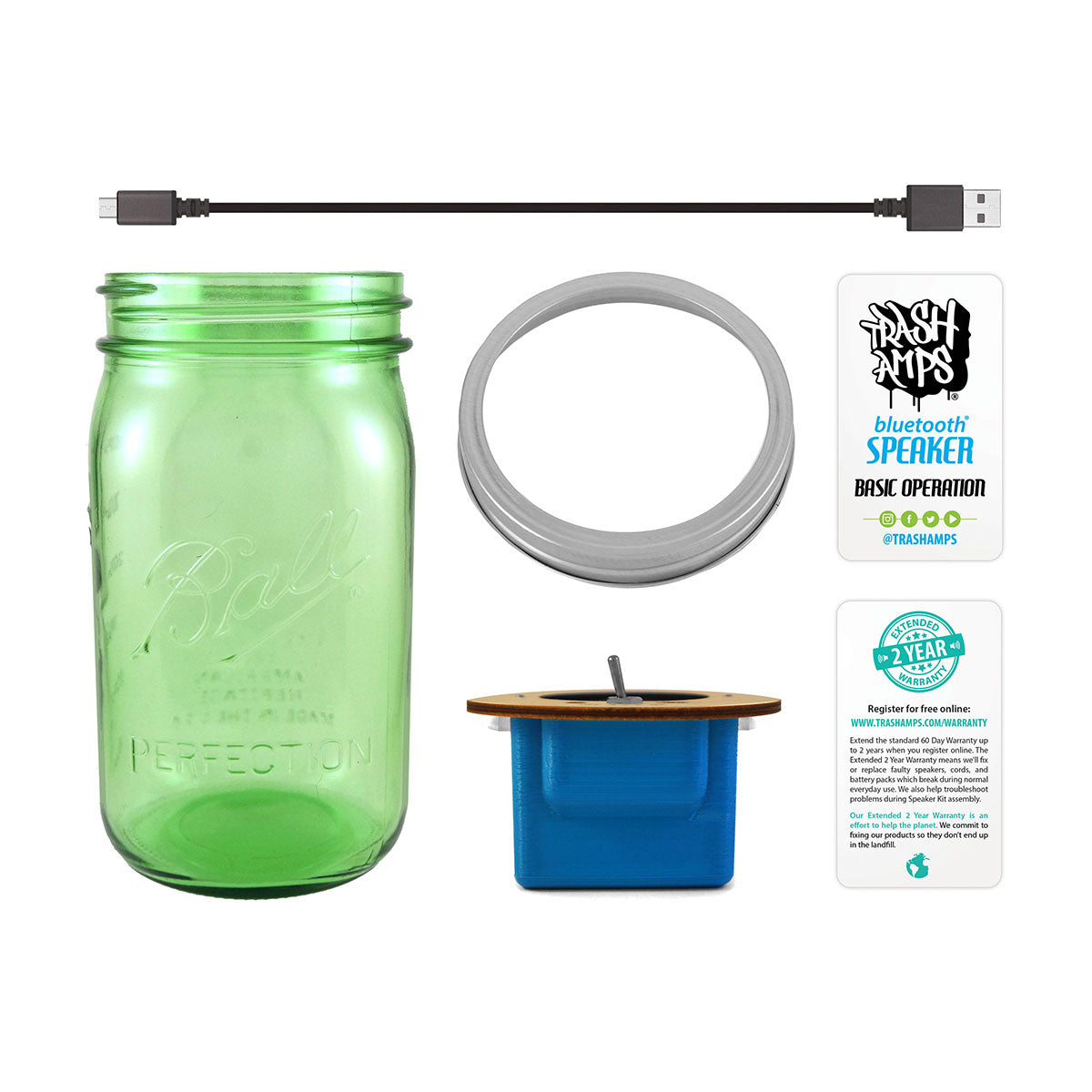 Bluetooth Mason Jar Speaker with Green Jar (32 oz)