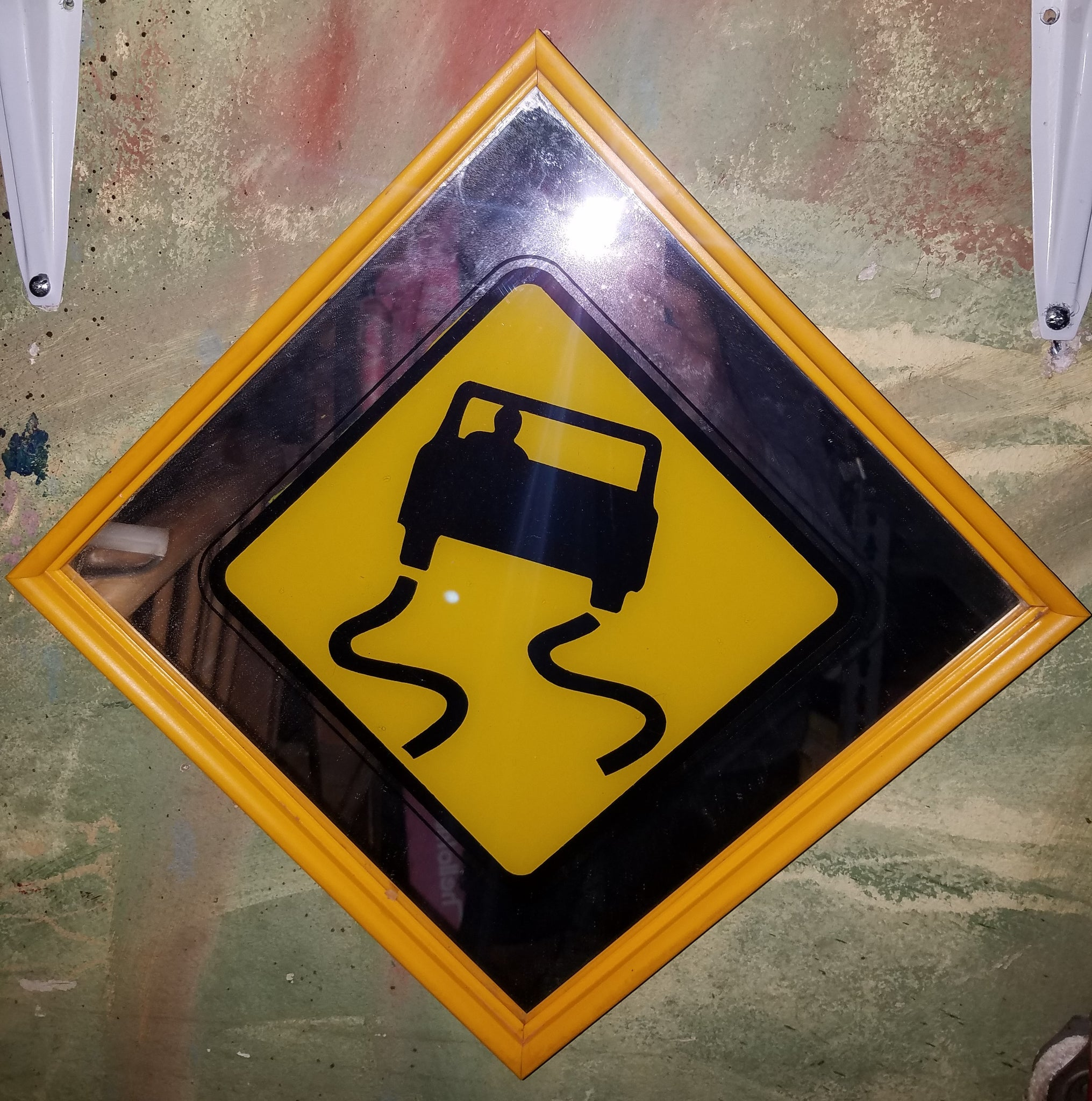 Winding Road Mirrored Yellow & Black Road / Highway Sign Wall Decor ...