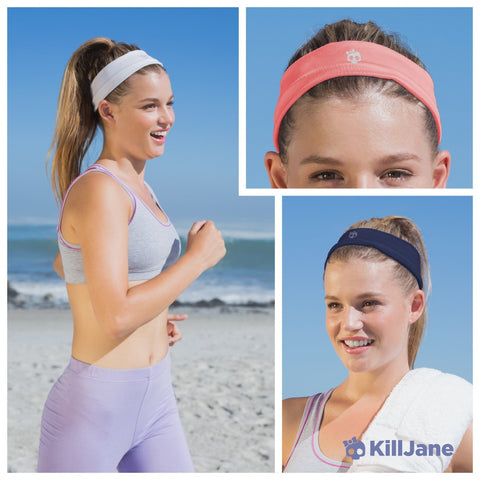 Womens Workout Headband - Sports Fitness Exercise Sweatband - White