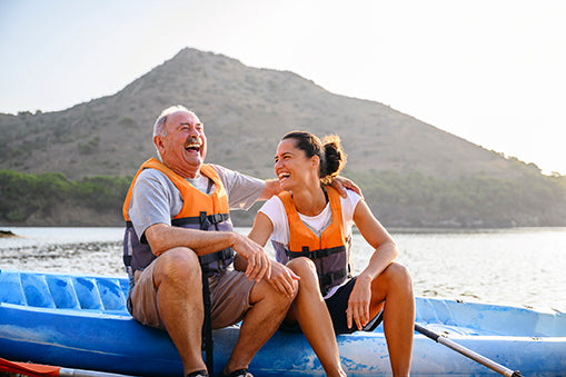 couple on kayak - aceva heart care bundle