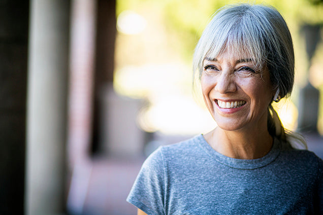 older woman smiling - omega 3 and menopause relief