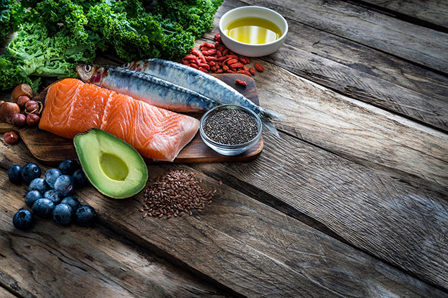 omega 3 food sources - salmon, fish, walnuts, kale