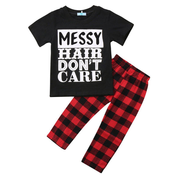 Messy Hair Don't Care T-Shirt + Pants Set