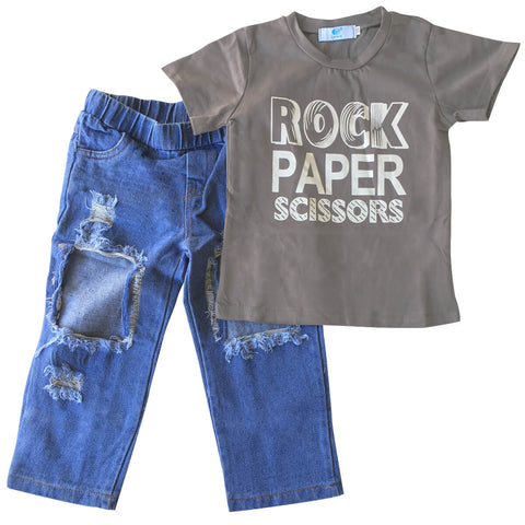 Rock Paper Scissors T-Shirt & Jeans Set - Teeny Rockers