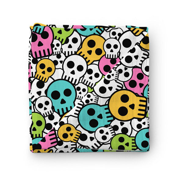 100% Muslin Cotton Swaddle Blanket with Skulls