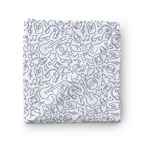 100% Muslin Cotton Swaddle Blanket with Rock 'N' Roll pattern