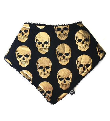 Black & gold Skull Dribble Bib Front