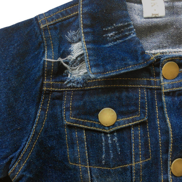 Long Sleeve Distressed Denim Jacket Button Detail