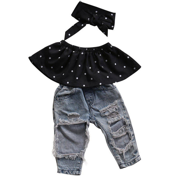 Kids baby 3 piece headband, top and ripped jeans set