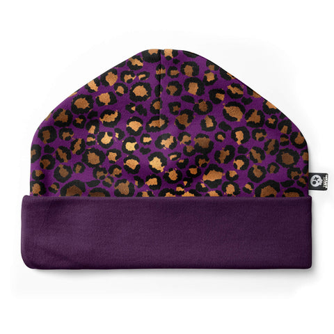 Leopard print baby hat with purple band