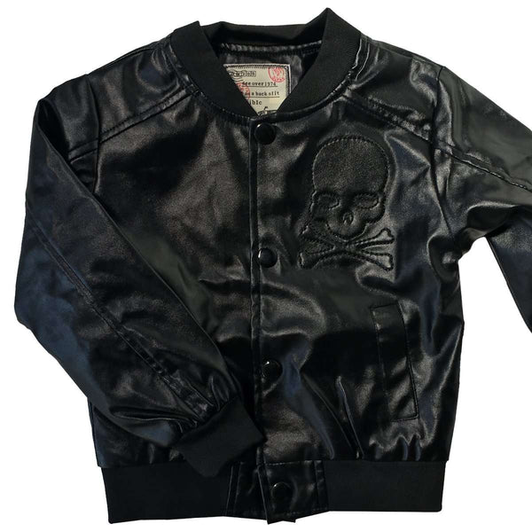 Kids black faux leather Jacket with skull design