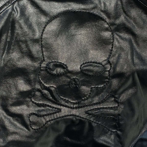 Kids black faux leather Jacket with skull design back