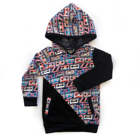 children's mixed tape pattern hoodie jumper with pockets