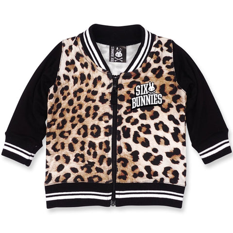 Babies zipper bomber jacket with leopard print design from Six bunnies- front
