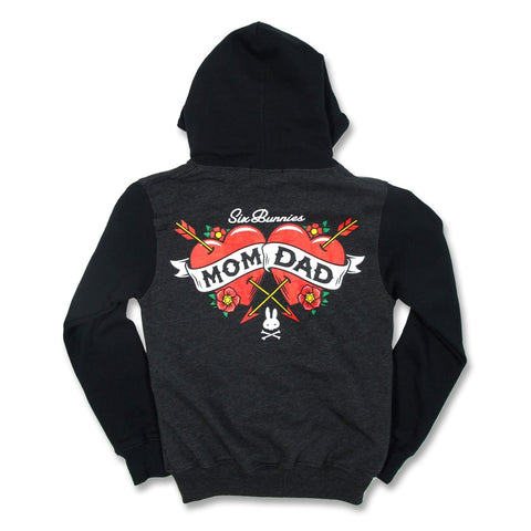 Kids zip up black hooded jacket with mom & dad tattoo style design on back