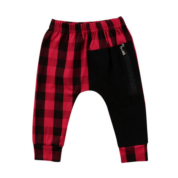 Kids Punk rock plaid harem pants red