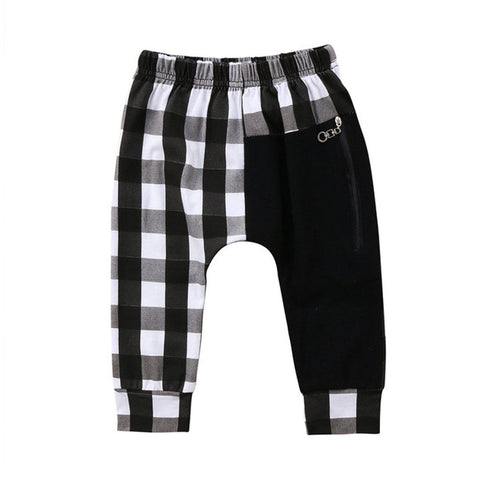 Kids Punk rock plaid harem pants white