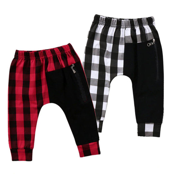 Kids Childrens punk plaid harem pants red white black