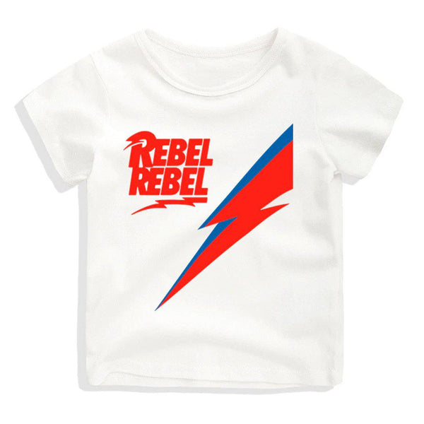 Childrens David Bowie Rebel Rebel T Shirt white