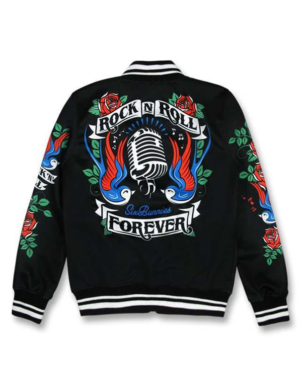 Kids Bomber Jacket rock n roll forever back - Six Bunnies