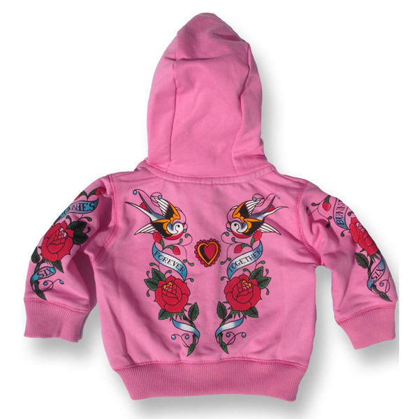 Baby Hoodie Jacket Pink back view- Six Bunnies