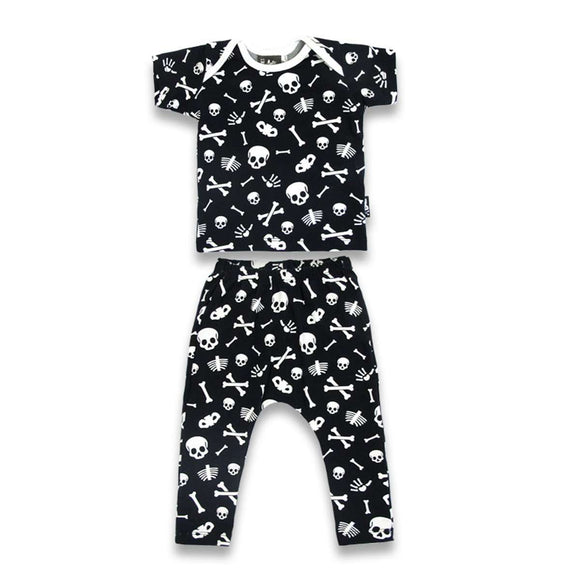 Six Bunnies Skulls Baby Pajama Set - Teeny Rockers