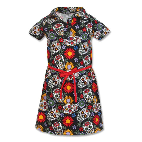 Girls sugar skulls dress - six bunnies