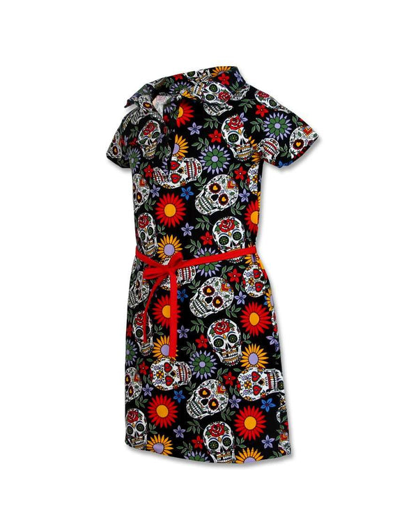Girls sugar skulls dress side view - six bunnies