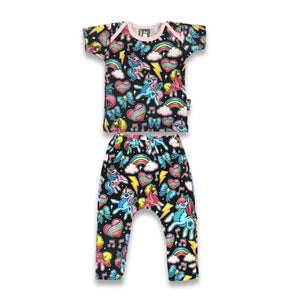 Six Bunnies Unicorns Tshirt & Pants Set