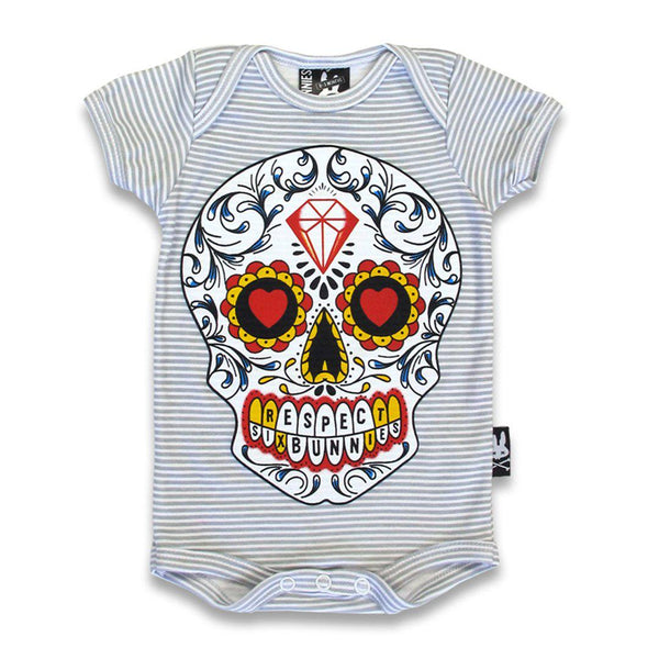 Baby Onesie - sugar skull respect - Six Bunnies