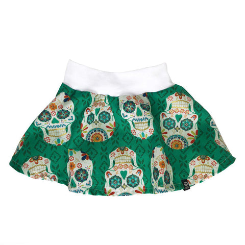 Teeny Rockets Green skull skater skirt